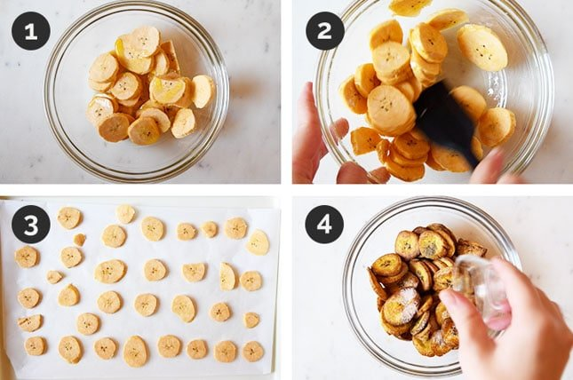 Step-by-step photos of how to make plantain chips