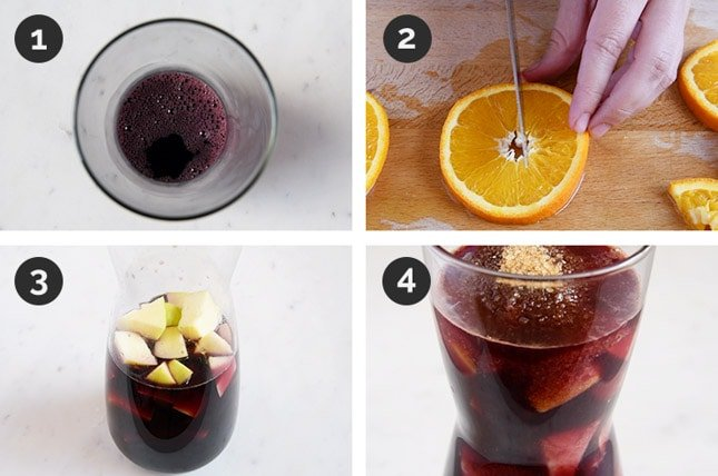 Step-by-step photos of how to make sangria
