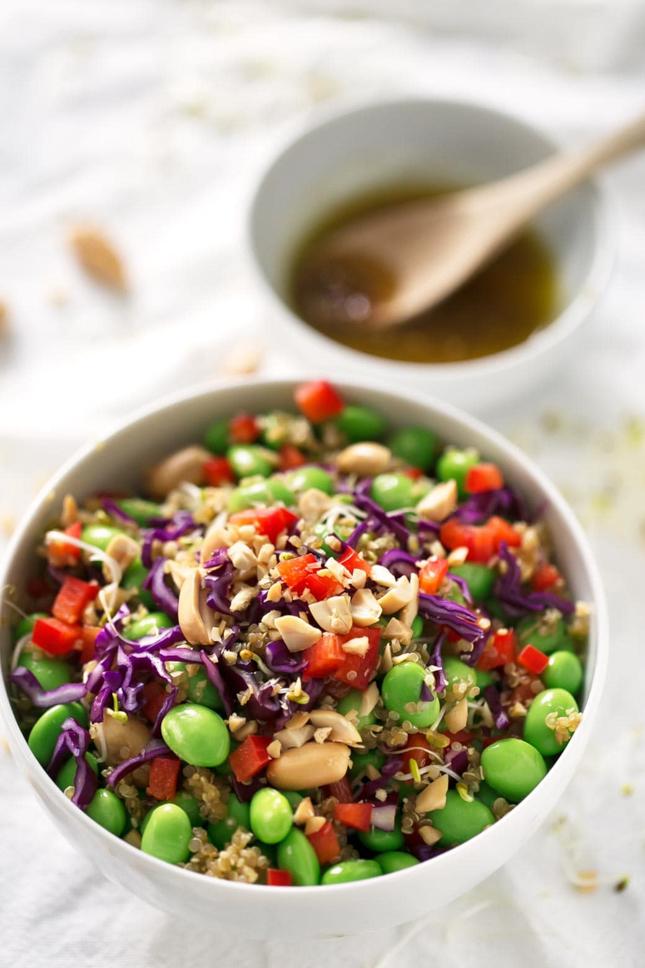 Photo of a bowl of quinoa edamame salad