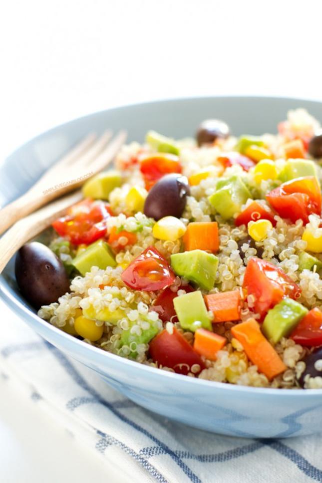 Photo of a bowl of simple vegan quinoa salad