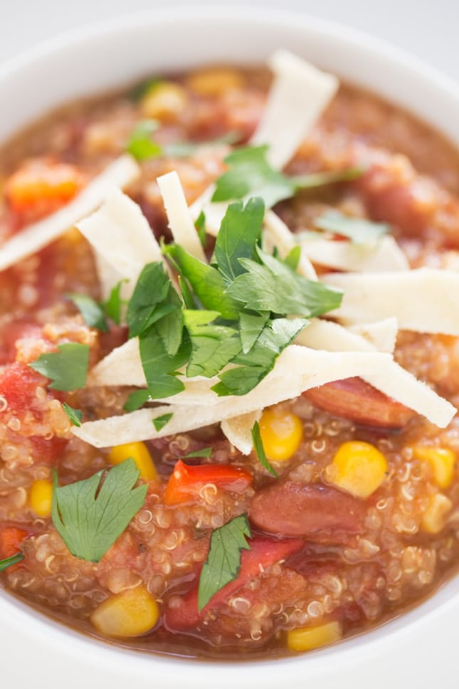 Photo of a bowl of slow cooker vegan quinoa chili