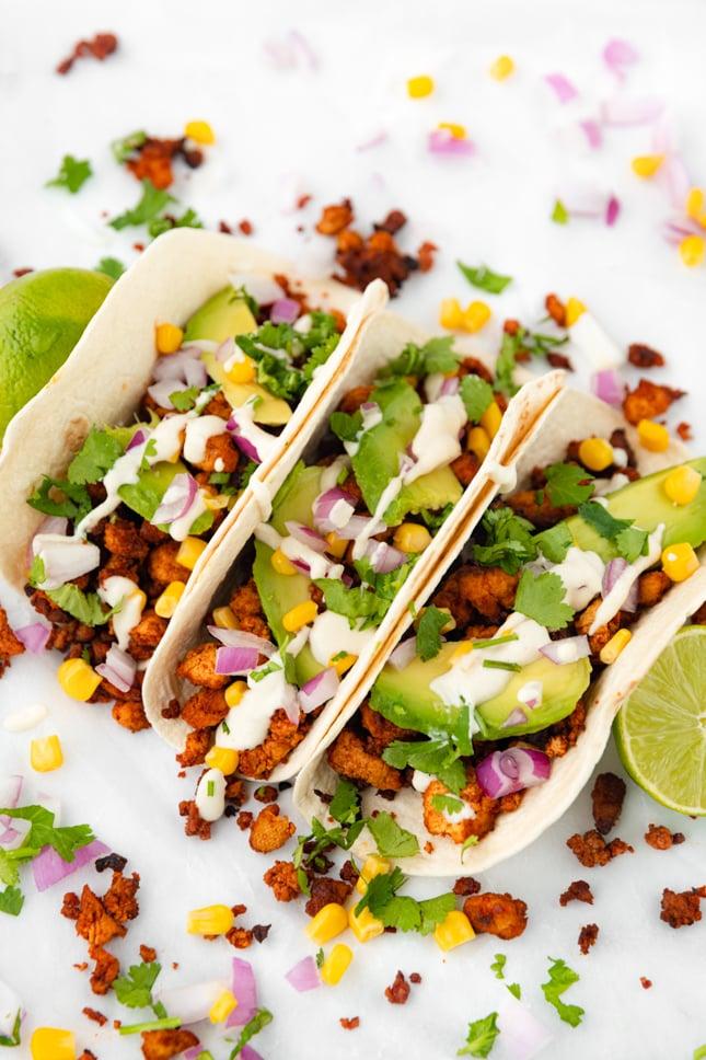 Photo of 3 tofu tacos