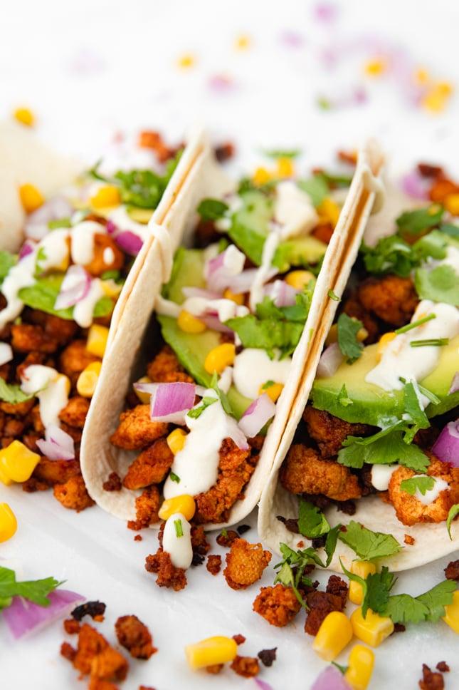 Close-up photo of some tofu tacos