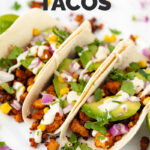 Photo of some tofu tacos with the words tofu tacos