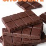 Photo of 2 barks of vegan chocolate with the words vegan chocolate