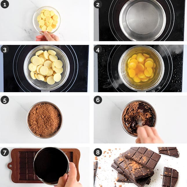 Step-by-step photos of how to make vegan chocolate