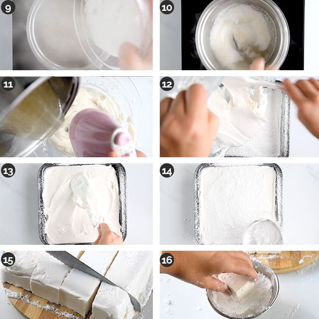 Photo of the last steps of how to make vegan marshmallows