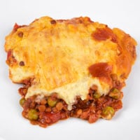 Square photo of a portion of vegan shepherd's pie