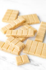 Photo of some pieces of vegan white chocolate