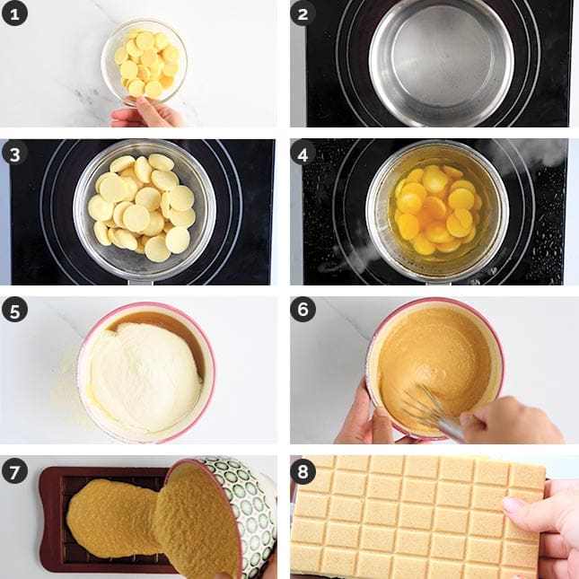 Step-by-step photo of how to make vegan white chocolate