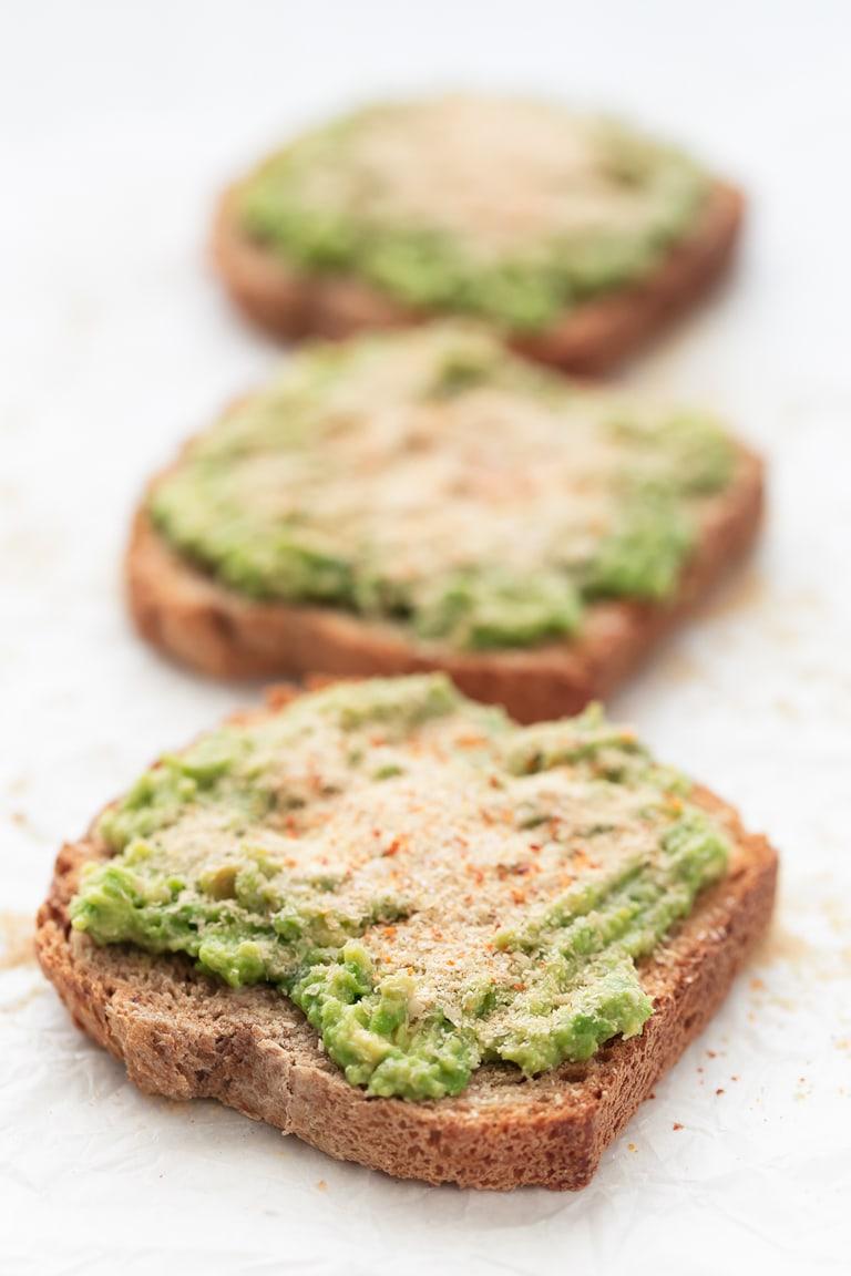 Photo of 3 slices of avocado toast