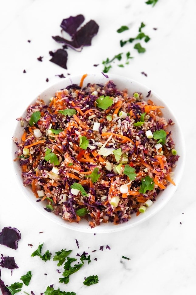 Photo of a bowl of Asian slaw