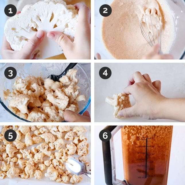 Photos of the first 6 steps of how to make buffalo cauliflower wings