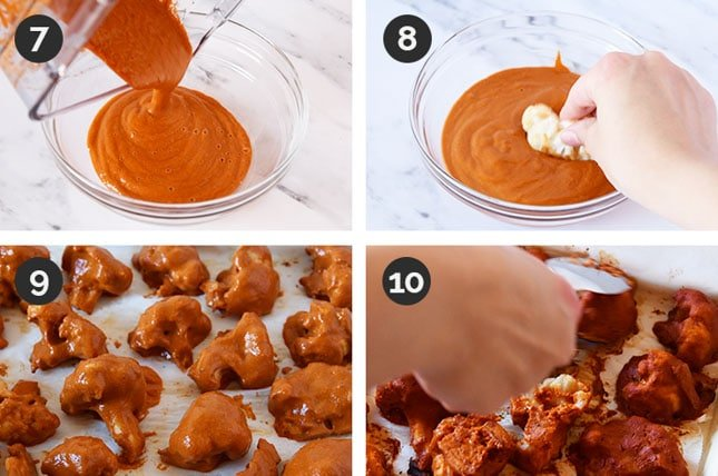 Photos of the last 4 steps of how to make buffalo cauliflower wings