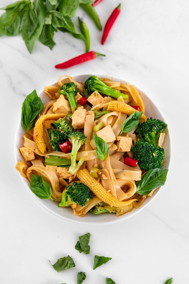 Photo of a bowl of drunken noodles taken from above