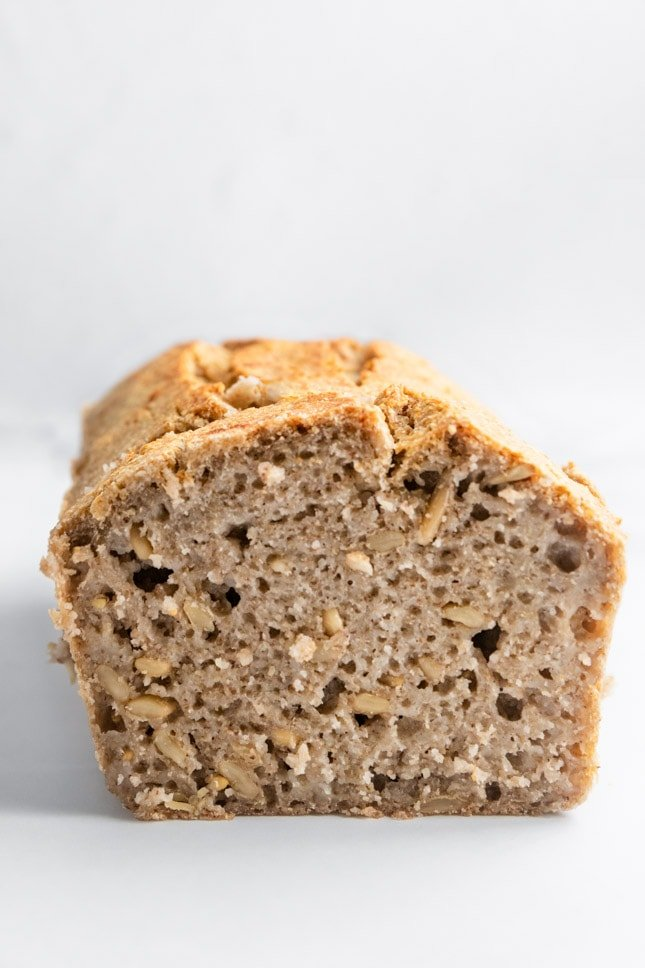 Side shot of a loaf of gluten-free bread