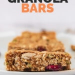 Side shot of a plate with 3 granola bars and the words granola bars