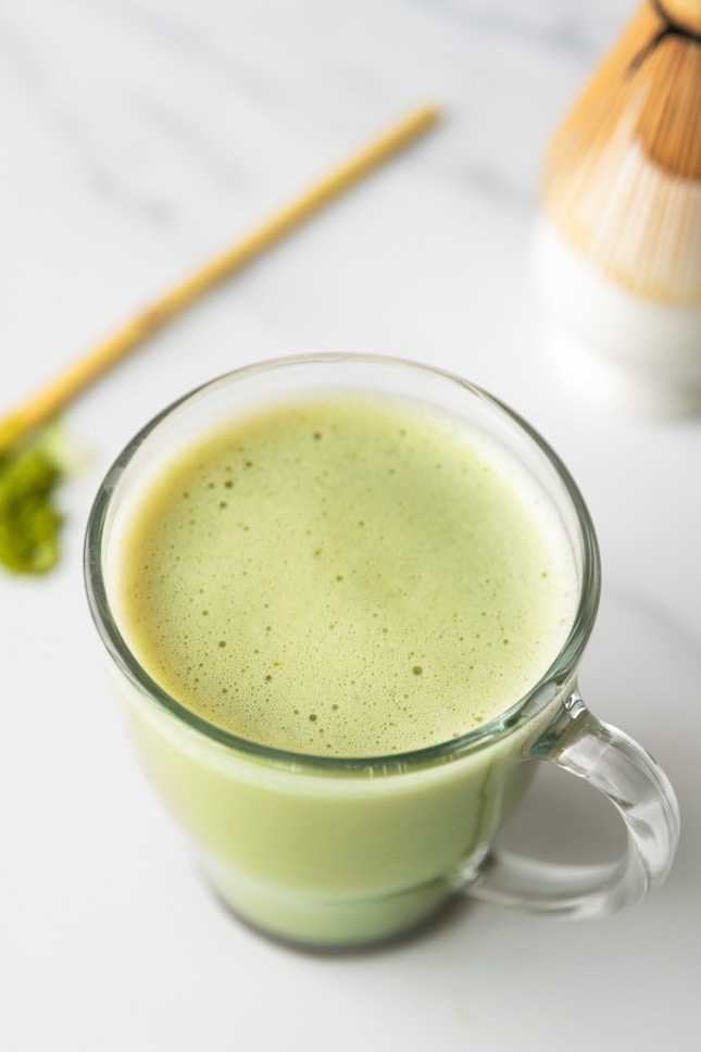 Close-up shot of a cup of matcha latte