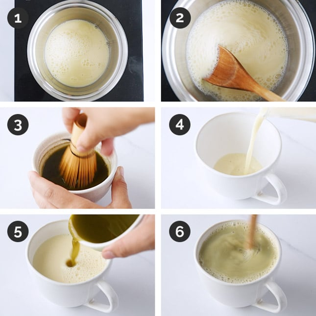 Step-by-step photos of how to make matcha latte