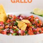 Side close-up shot of a bowl of pico de gallo with the words pico de gallo