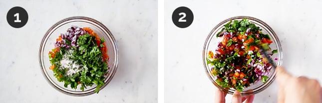 Step-by-step photos of how to make pico de gallo