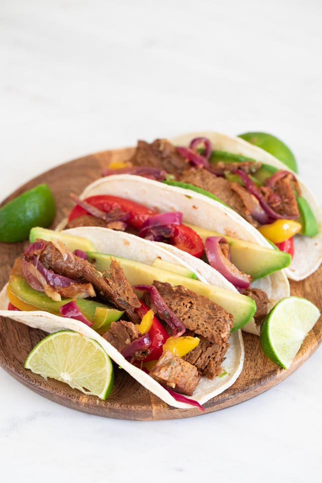 Photo of a plate of vegan fajitas