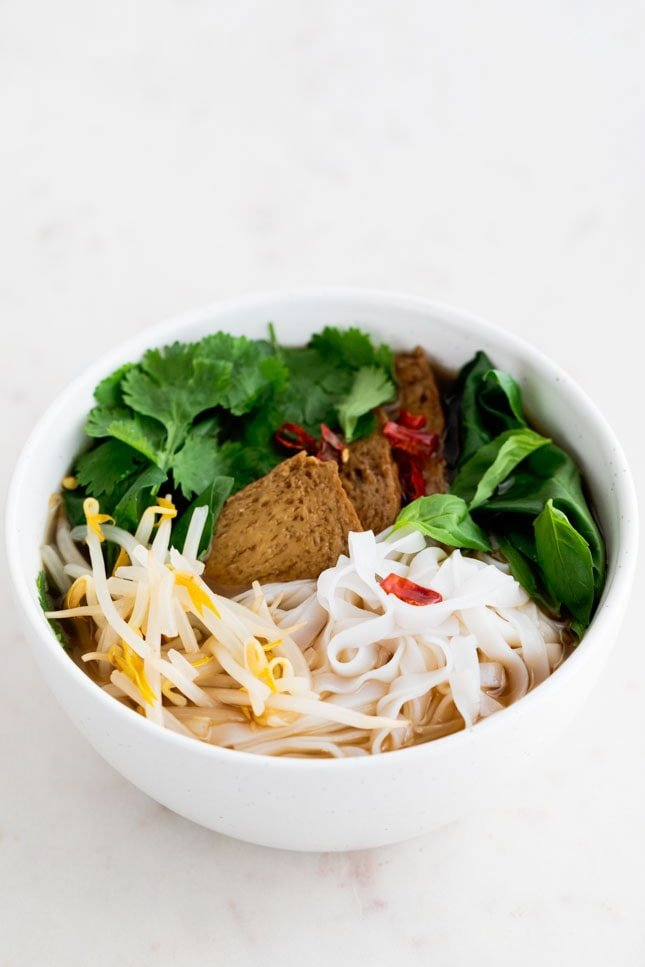 Photo of a bowl of vegan pho