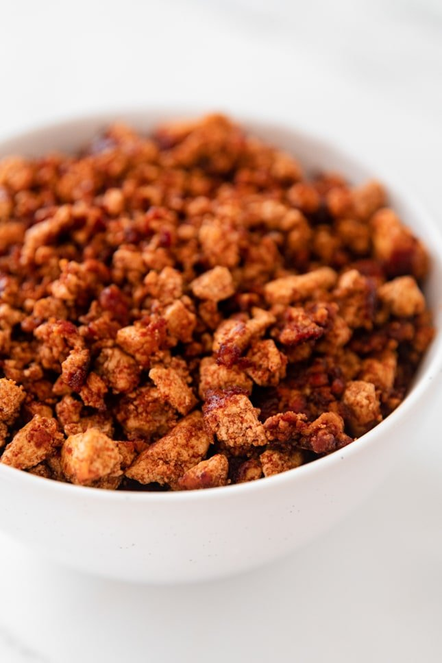 Close-up photo of a bowl of soyrizo