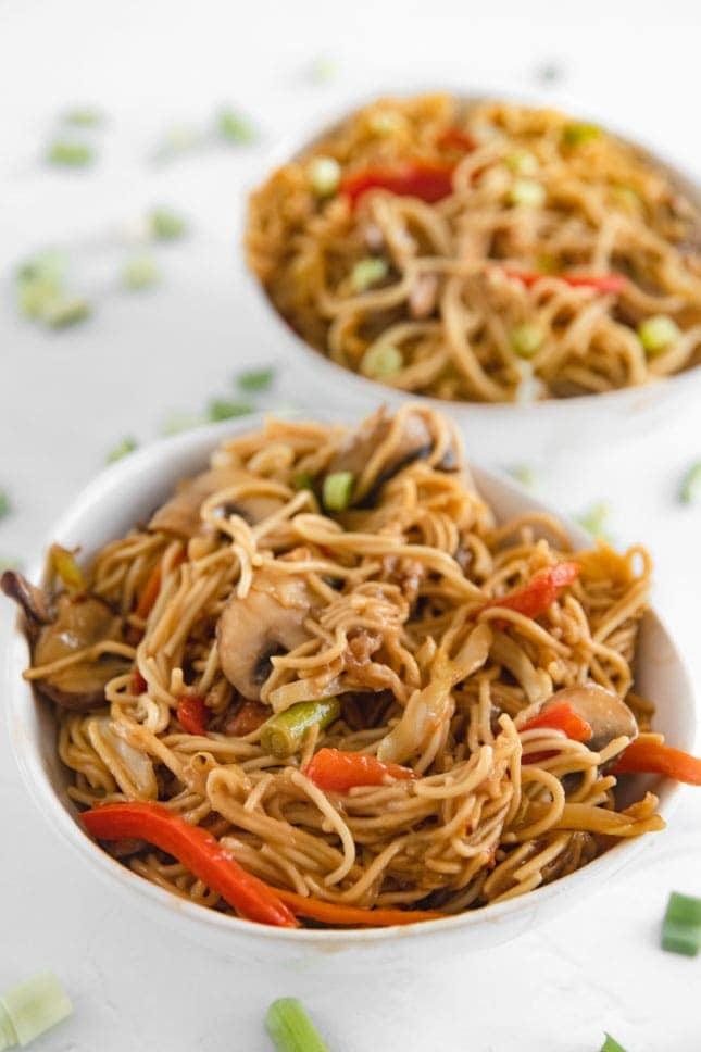 Photo of 2 bowls of vegetable chow mein