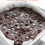 Photo of a baking dish with black bean brownies with the words black bean brownies