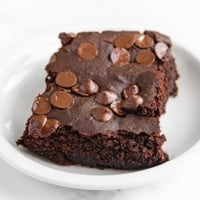 Square photo of a piece of black bean brownies
