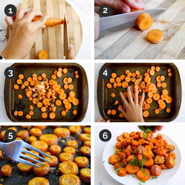 Step-by-step photos of how to make roasted carrots