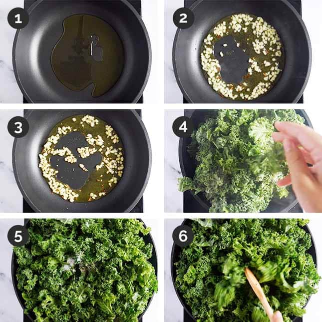 Step-by-step photos of how to make sauteed kale