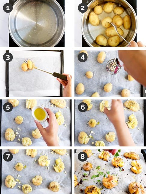 Step-by-step photos of how to make smashed potatoes