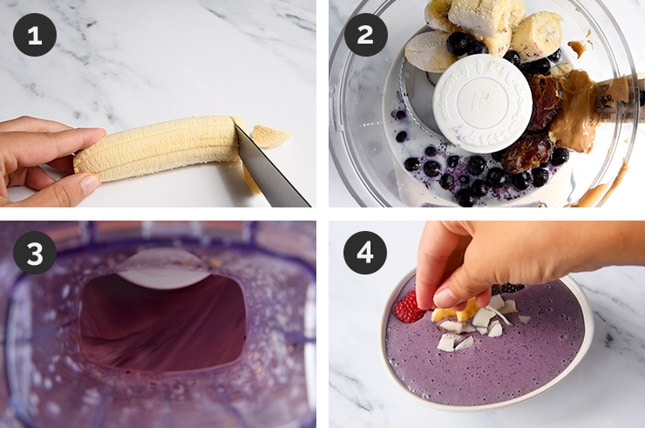 Step-by-step photos of how to make a smoothie bowl