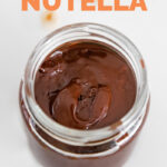 Photo of a jar of vegan Nutella with the words vegan Nutella