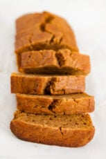 Photo of a sliced loaf of vegan pumpkin bread
