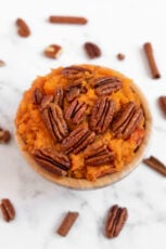Photo of a bowl of a homemade vegan sweet potato casserole