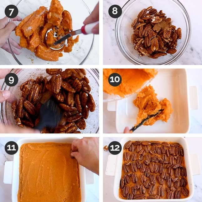 Photo of the last 6 steps of how to make a vegan sweet potato casserole
