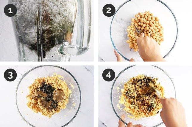 Step-by-step photos of how to make vegan tuna