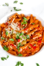 Photo of a plate of vegetable pasta