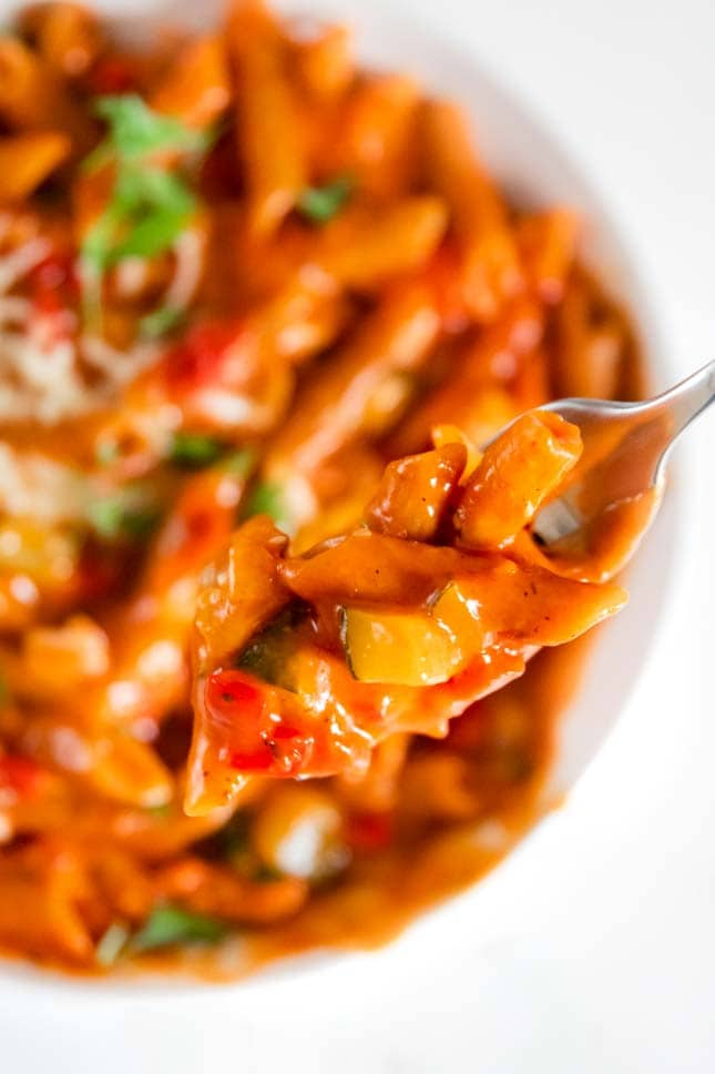 Close-up photo of a plate of vegetable pasta