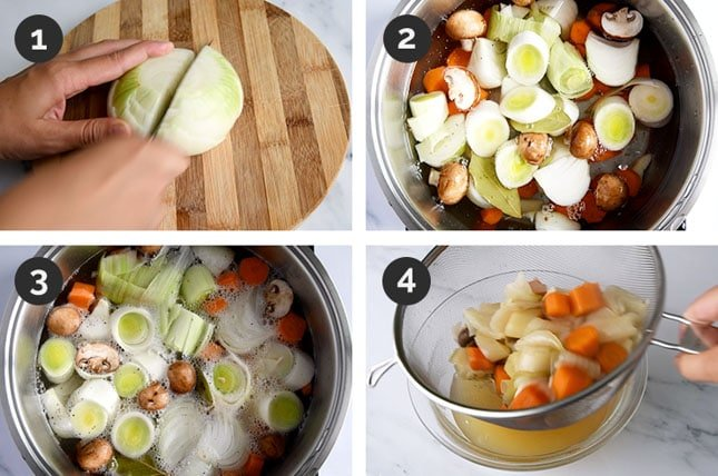 Step-by-step photos of how to make vegetable stock
