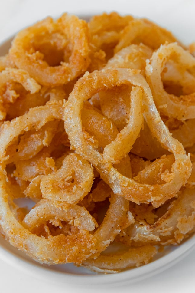 Close-up shot of a plate of French fried onions
