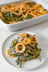 Photo of a homemade vegan green bean casserole