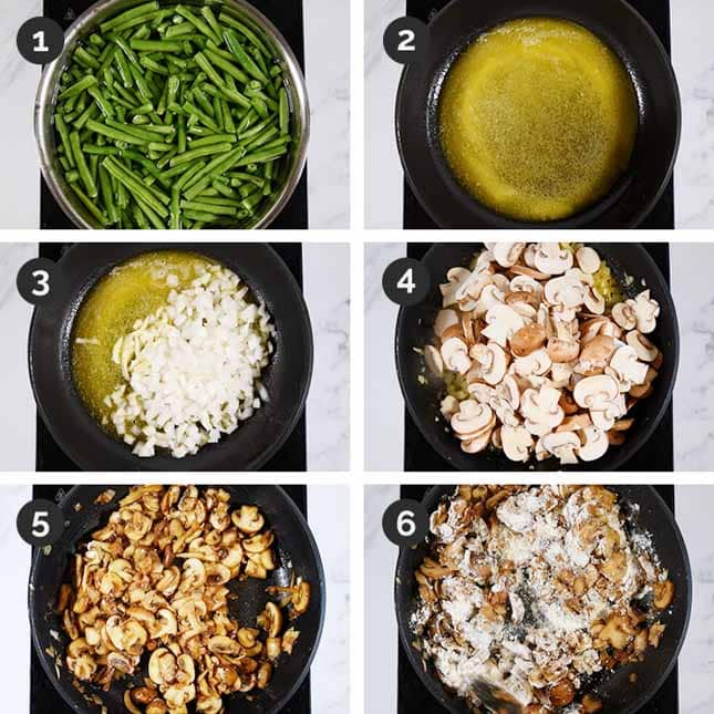 Photo of the first 6 steps of how to make vegan green bean casserole