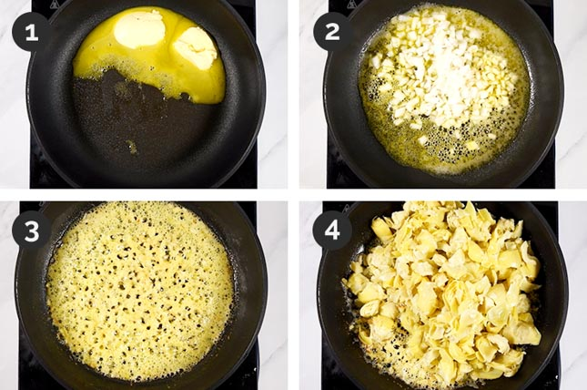 Photo of the first 4 steps of how to make vegan spinach artichoke dip