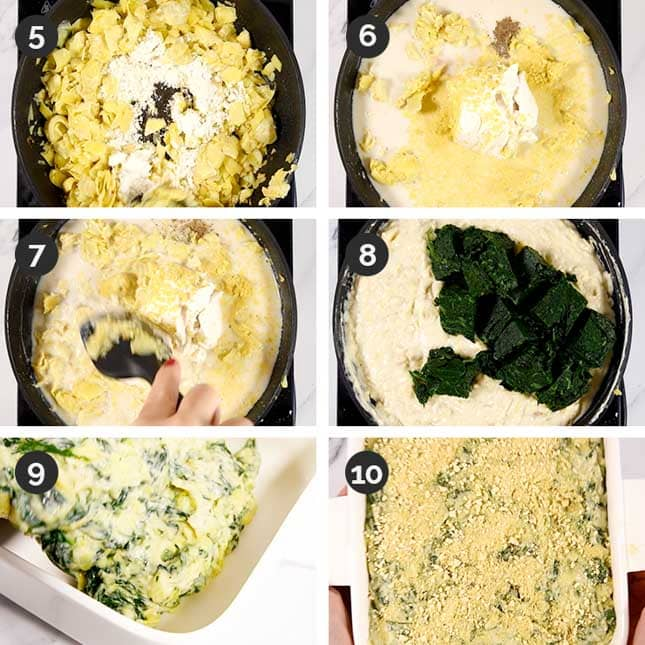 Photo of the last 6 steps of how to make vegan spinach artichoke dip